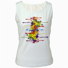 Crazy Multicolored Double Running Splashes Women s White Tank Top