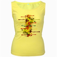 Crazy Multicolored Double Running Splashes Women s Yellow Tank Top