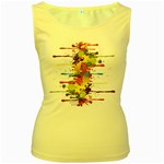 Crazy Multicolored Double Running Splashes Women s Yellow Tank Top Front