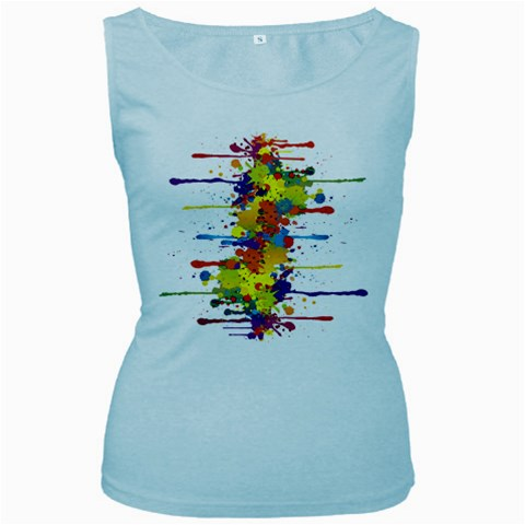 Crazy Multicolored Double Running Splashes Women s Baby Blue Tank Top