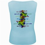 Crazy Multicolored Double Running Splashes Women s Baby Blue Tank Top Back