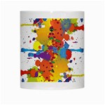 Crazy Multicolored Double Running Splashes White Mugs Center