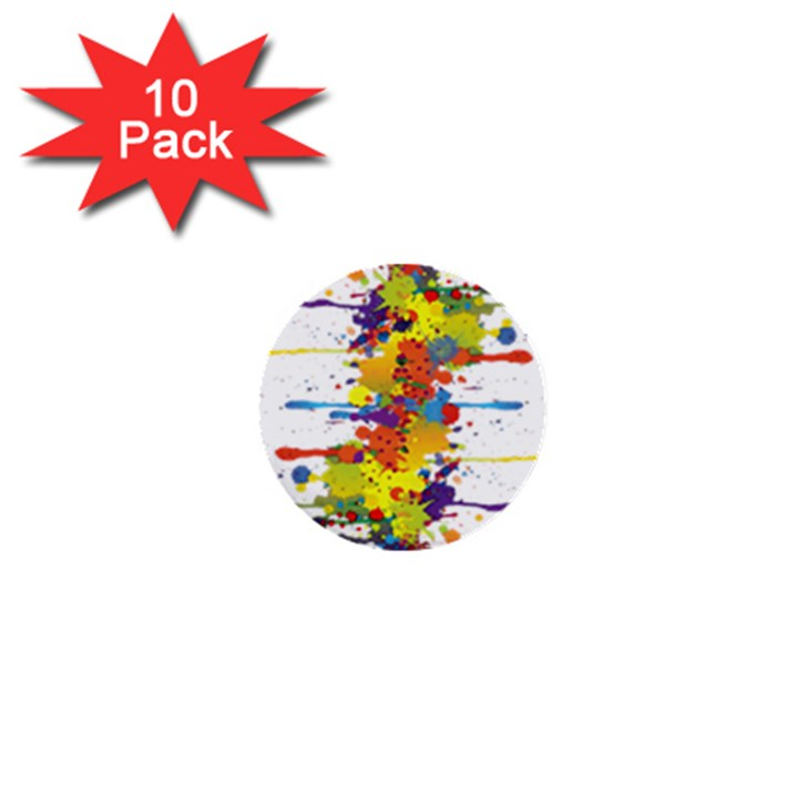 Crazy Multicolored Double Running Splashes 1  Mini Buttons (10 pack)