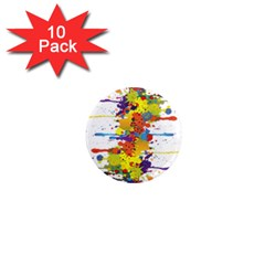 Crazy Multicolored Double Running Splashes 1  Mini Magnet (10 Pack)