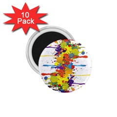 Crazy Multicolored Double Running Splashes 1.75  Magnets (10 pack)