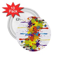 Crazy Multicolored Double Running Splashes 2 25  Buttons (10 Pack)