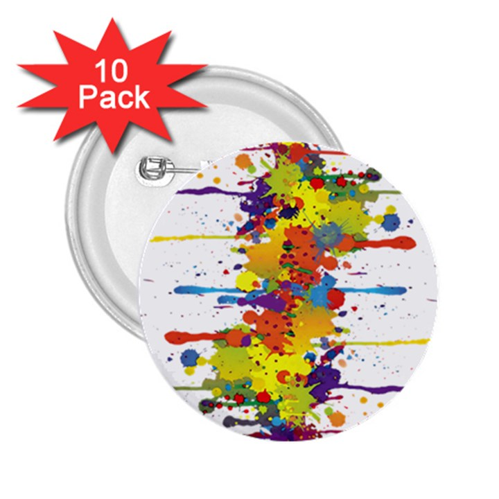 Crazy Multicolored Double Running Splashes 2.25  Buttons (10 pack)