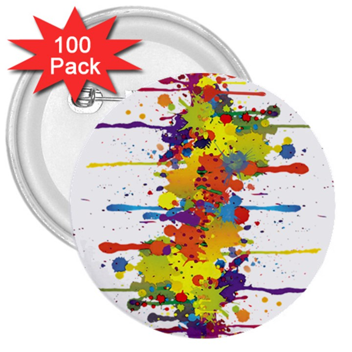Crazy Multicolored Double Running Splashes 3  Buttons (100 pack)