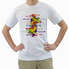 Crazy Multicolored Double Running Splashes Men s T-Shirt (White) (Two Sided)
