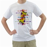 Crazy Multicolored Double Running Splashes Men s T-Shirt (White) (Two Sided) Front