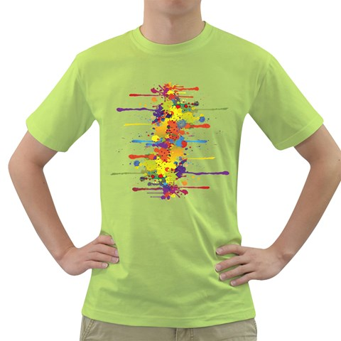 Crazy Multicolored Double Running Splashes Green T-Shirt