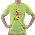 Crazy Multicolored Double Running Splashes Green T-Shirt Front