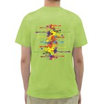 Crazy Multicolored Double Running Splashes Green T-Shirt Back