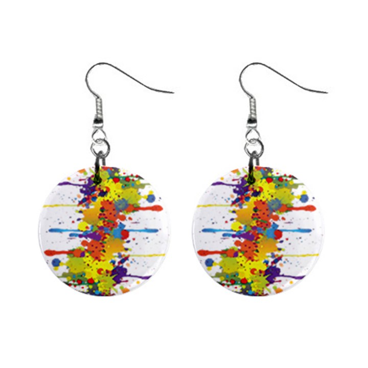 Crazy Multicolored Double Running Splashes Mini Button Earrings