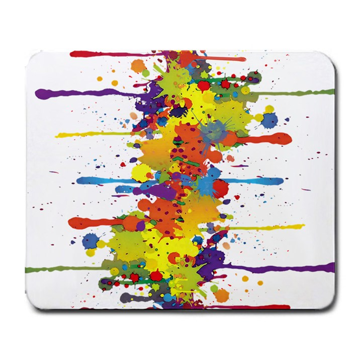 Crazy Multicolored Double Running Splashes Large Mousepads
