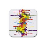 Crazy Multicolored Double Running Splashes Rubber Square Coaster (4 pack)  Front