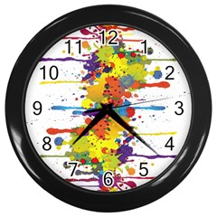 Crazy Multicolored Double Running Splashes Wall Clocks (black)