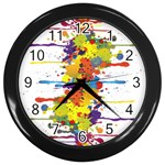 Crazy Multicolored Double Running Splashes Wall Clocks (Black) Front