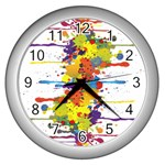 Crazy Multicolored Double Running Splashes Wall Clocks (Silver)  Front