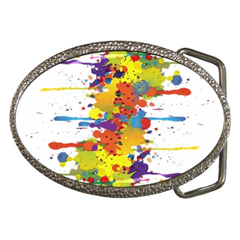 Crazy Multicolored Double Running Splashes Belt Buckles