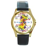 Crazy Multicolored Double Running Splashes Round Gold Metal Watch Front