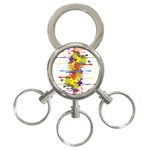 Crazy Multicolored Double Running Splashes 3-Ring Key Chains Front