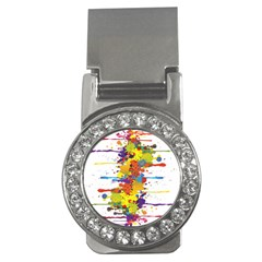 Crazy Multicolored Double Running Splashes Money Clips (cz)