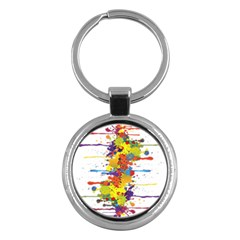 Crazy Multicolored Double Running Splashes Key Chains (round)