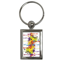 Crazy Multicolored Double Running Splashes Key Chains (rectangle)