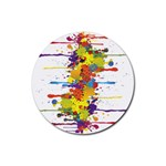 Crazy Multicolored Double Running Splashes Rubber Round Coaster (4 pack)  Front