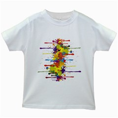 Crazy Multicolored Double Running Splashes Kids White T Shirts