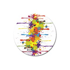 Crazy Multicolored Double Running Splashes Magnet 3  (round)