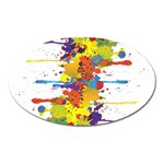 Crazy Multicolored Double Running Splashes Oval Magnet Front