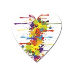 Crazy Multicolored Double Running Splashes Heart Magnet Front