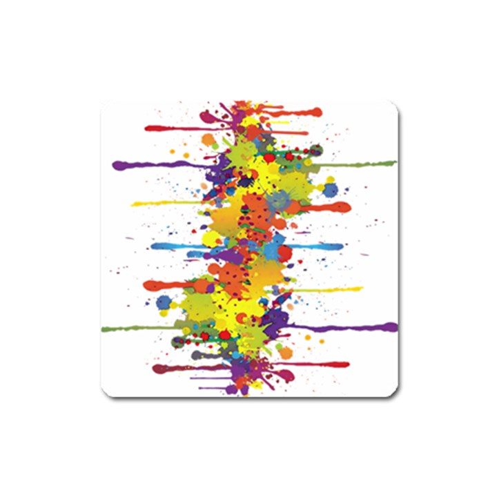 Crazy Multicolored Double Running Splashes Square Magnet