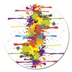 Crazy Multicolored Double Running Splashes Magnet 5  (Round) Front