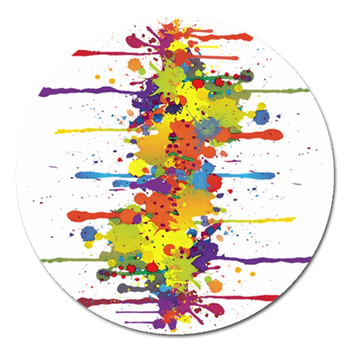 Crazy Multicolored Double Running Splashes Magnet 5  (Round)