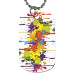 Crazy Multicolored Double Running Splashes Dog Tag (One Side) Front