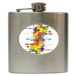Crazy Multicolored Double Running Splashes Hip Flask (6 oz) Front