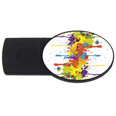 Crazy Multicolored Double Running Splashes USB Flash Drive Oval (2 GB)