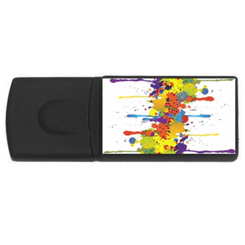 Crazy Multicolored Double Running Splashes USB Flash Drive Rectangular (2 GB)