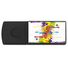 Crazy Multicolored Double Running Splashes USB Flash Drive Rectangular (1 GB)