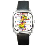 Crazy Multicolored Double Running Splashes Square Metal Watch Front