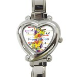 Crazy Multicolored Double Running Splashes Heart Italian Charm Watch Front