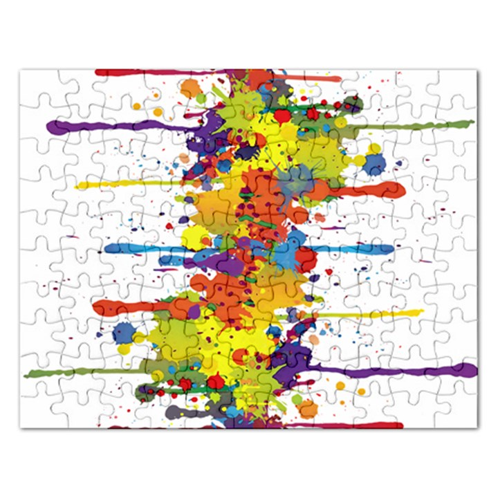 Crazy Multicolored Double Running Splashes Rectangular Jigsaw Puzzl