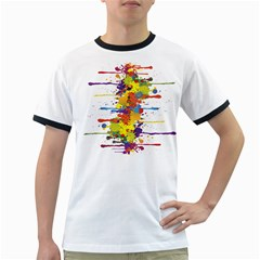 Crazy Multicolored Double Running Splashes Ringer T Shirts