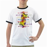 Crazy Multicolored Double Running Splashes Ringer T-Shirts Front
