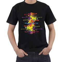 Crazy Multicolored Double Running Splashes Men s T-Shirt (Black) (Two Sided)