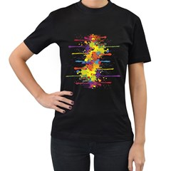 Crazy Multicolored Double Running Splashes Women s T-Shirt (Black) (Two Sided)