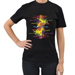 Crazy Multicolored Double Running Splashes Women s T-Shirt (Black) (Two Sided) Front